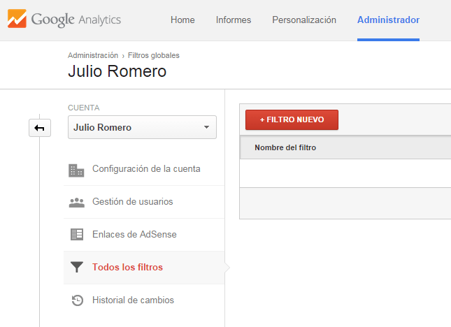 crear filtro google analytics