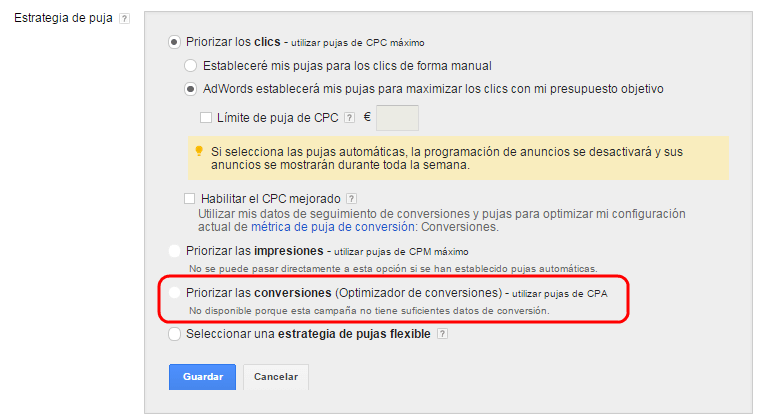 optimizador de conversiones