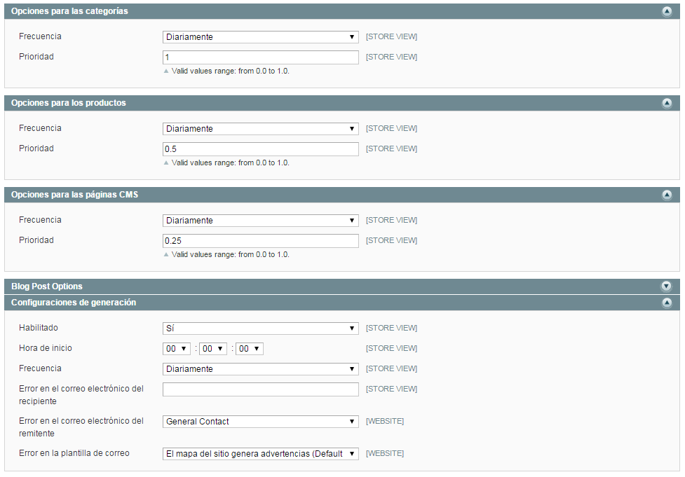 configuracion sitemap magento